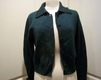 Vintage Wool Cardigan w/ Fuzzy Collar & Cuffs Forest Green Womens Lg by GAP
