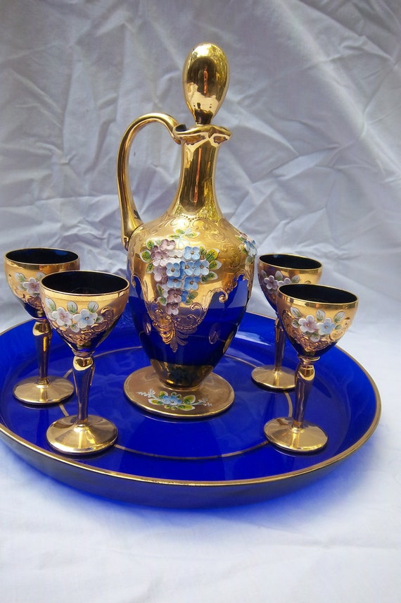 Vintage Murano Cobalt Glass Cordial Set W Decanter By