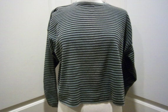 """Vintage Cotton Striped Boxy Crewneck Sweater Womens Med. by """"No Saint"""" Green & Black"""