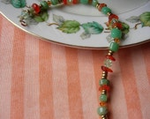 Chrysoprase, Carnelian, Swarovski Crystal Bracelet - May, July Birthstones- Gifts Under 50,100,125