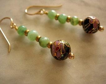 Peruvian Opals & Cloisonne Earrings - October Birthstone Opal - 13th Wedding Anniversary Gift