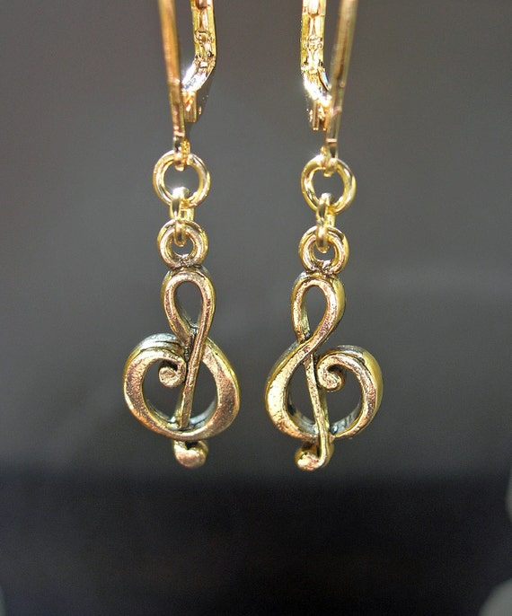 Antiqued Gold Treble Clef - Music To My Ears - Dangle Earrings - Jewelry Gift Under 15, 25, 50, 100 for Women Girls Teens Music Lovers