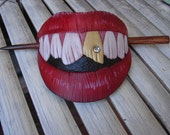 Big toothy grin red hair lips barrette/slide hand carved leather mouth with gold tooth