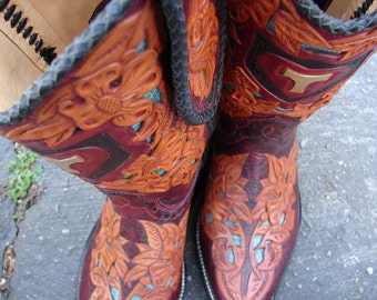 Extravagantly filigreed hand tooled leather & laced cowgirl boots Custom Handmade
