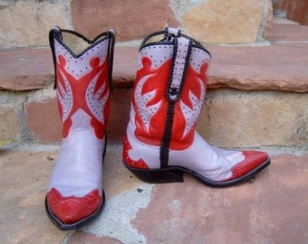 Red & Lavender Leather Cowboy/Cowgirl Boots Custom Hand Made to Order to your feet/foot