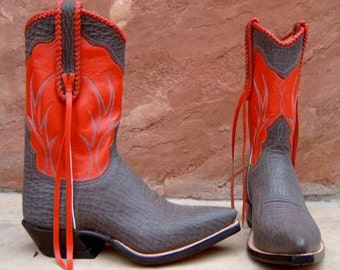 Grey Sharkskin & Red Leather Cowboy/cowgirl Boots Custom Hand Made to your feet/foot