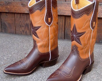 Chocolate & Cognac Leather Cowboy Boots Custom Hand Made to Order to your Feet