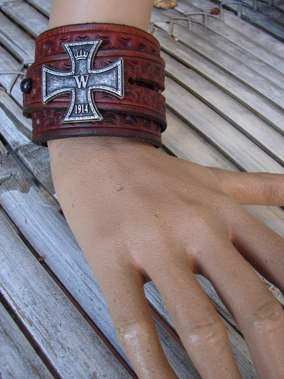 Antique Brown Distressed Leather Cuir Wide Wrist Wrap Cuff Adorned With Iron Cross