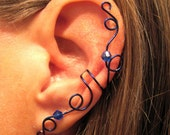 Non Pierced Crystal Morning Glory Ear Cuff 1 Cuff Color Choices