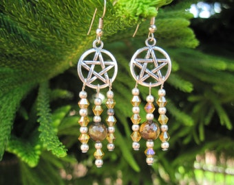 Stunning Earrings with Pentacle, Tiger Eye & Swarovski Crystals Wiccan Pagan