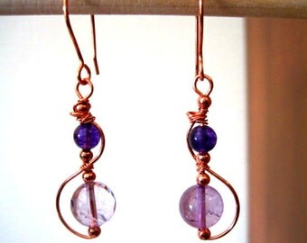 """Copper """"Allemande"""" Handcrafted Earrings Wire Wrapped"""