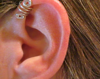 "Ear Cuff No Piercing ""Double Up"" Helix Cuff Handmade 1 Cuff - COLOR CHOICES"