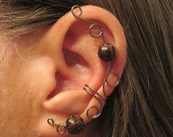 "Non Pierced ""Druid Priestess"" Ear Cuff/Wrap Wire & Wood 1 Cuff Color Choices"