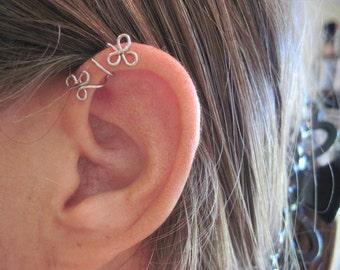 """No Piercing """"Twining Shamrocks"""" Helix Cuff Ear Cuff for Upper Ear 1 Cuff Color Choices"""