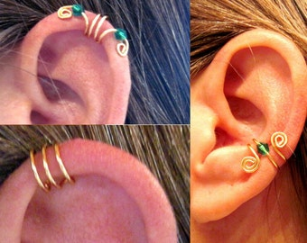 15% Off Get 3 Different Ear Cuffs No Piercing Gold Tone & Green Crystals as shown or 17 color choices