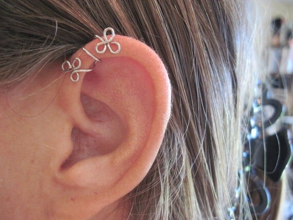 "No Piercing ""Twining Shamrocks"" Helix Cuff Ear Cuff for Upper Ear 1 Cuff Color Choices"