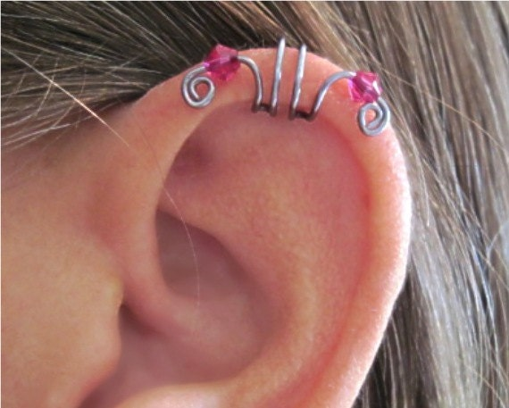 """No Piercing """"Crystal Double Up"""" Ear Cuff for Upper Ear 1 Cuff COLOR CHOICES"""