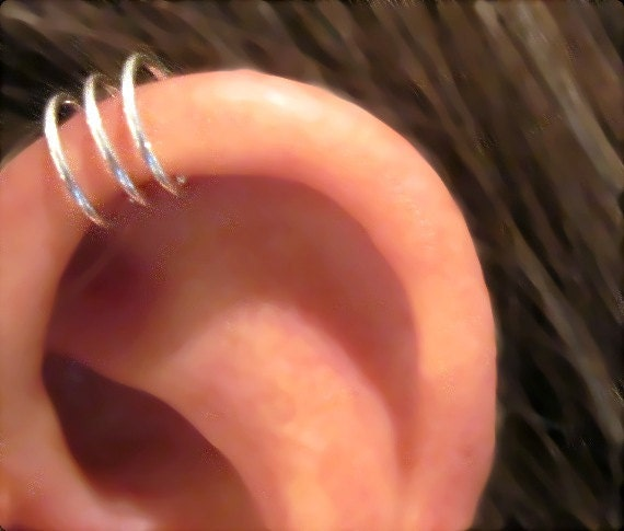 "No Piercing Sterling Silver  Handmade Helix Cuff Ear Cuff ""Triple Loops""  1 Cuff"