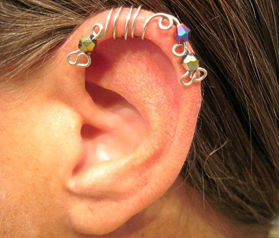 """No Piercing """"Peacock"""" Ear Cuff for Upper Ear 1 Cuff COLOR CHOICES"""