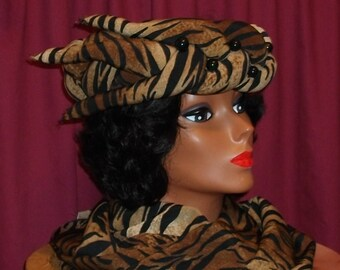 Tiger  Print  Black, Brown And Beige Crown Hat With Scarf.