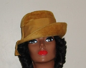 Vintage Dark Gold Felt Hat  70's