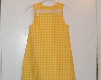 Yellow an White Check Girl Dress