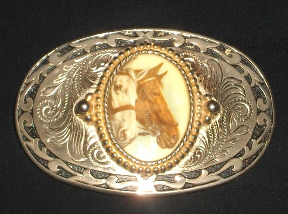 Western Belt Buckle Heavy Metal Silver and Gold Plated