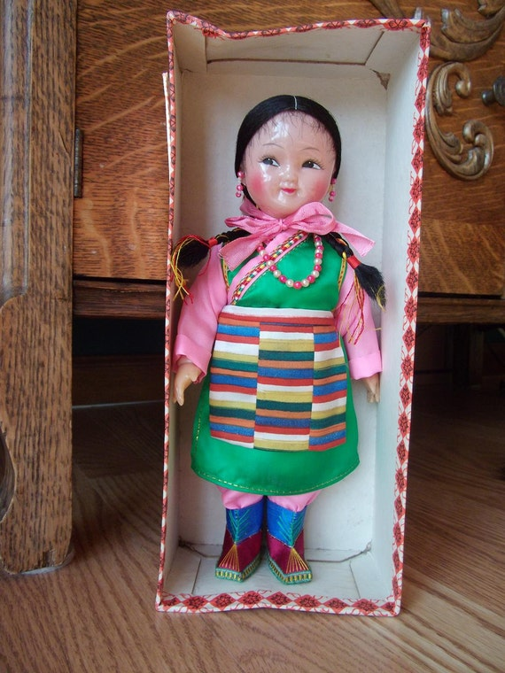 Vintage Doll - Celluloid Asian Doll in Original Print Box - Childs Antique - Himalayan Folk Costume - Plastic Doll