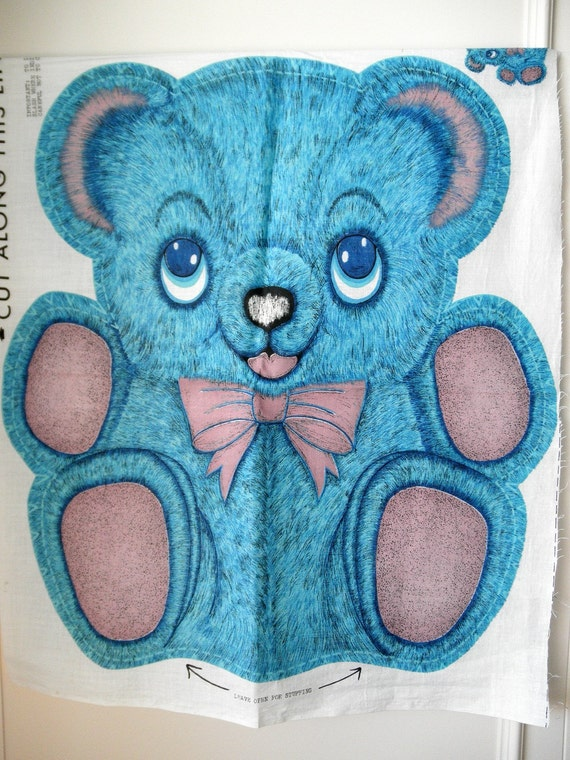 1960s Vintage Cut Amp Sew Teddy Bear Pillow Sewing Panel