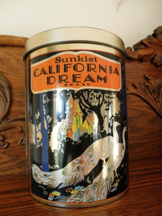 Vintage Advertising Sunkist Dream Cheinco Tin - Peacock - Farmhouse - Cottage - Shabby Chic - Orange