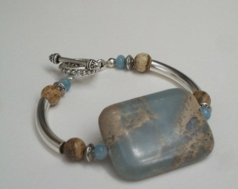 Aqua Terra Jasper Focal Bracelet with Amazonite and Picture Jasper accents.