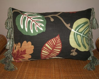 Tropical Leaves Design Lumbar Pillow with Tassel Fringe in Brown and Green