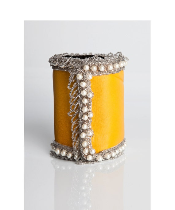 Pearled Yellow Cuff With Vintage Pearls - Citrine Dream