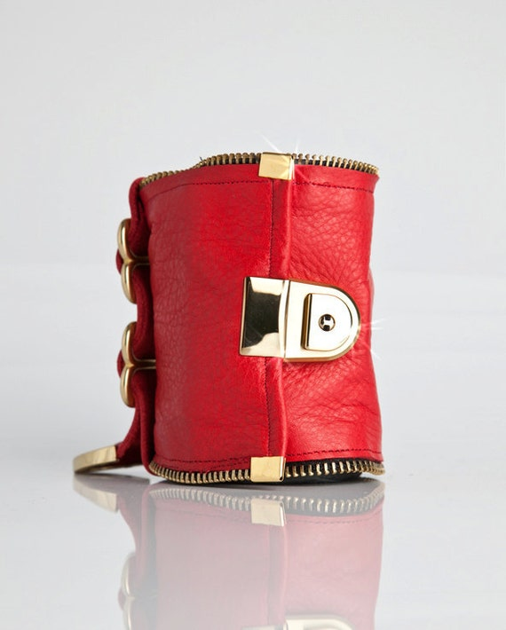 Red and Gold Leather Wallet Cuff - RoughNReddy