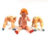 Creepy 1930s/40s Dolls Set of Three // 11 inches tall  // Antique Kitsch Weird Cute