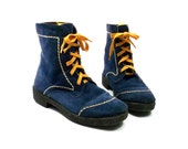 Blue Suede Boots with yellow laces and stitching // 1970s DEAD STOCK  // unisex womens 9 mens 7 1/2