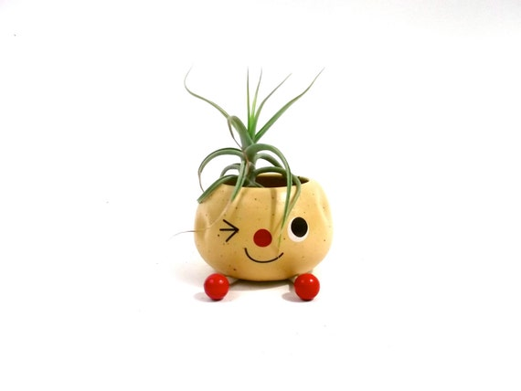 SPUTNIK  ATOMIC MODERN  //pottery art planter // 1950s kitschy winking little man
