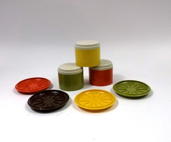 Tupperware set Mod colors // spice shakers and coasters // 1960s retro kitchen supplies // Stackable