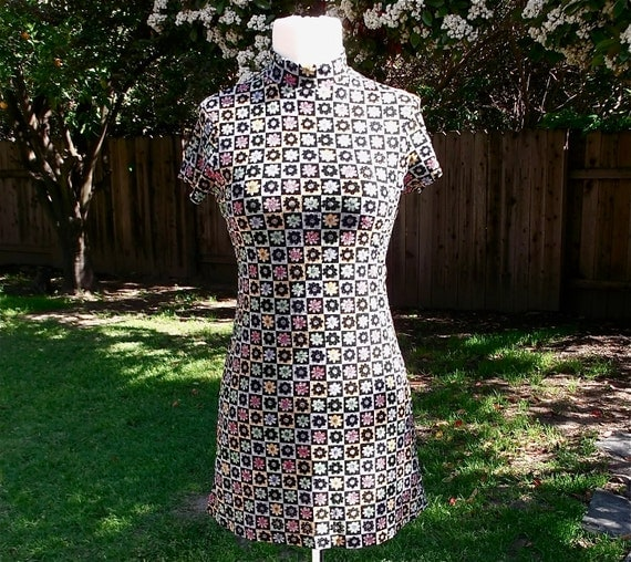 90s Mod Scooter Mini Dress// Floral Grunge Print // xs - small // womens vintage clothing
