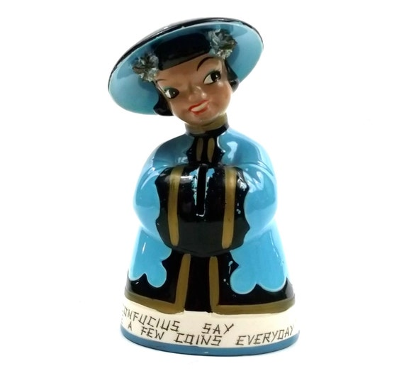 1960s KREISS Figurine // rare Large ceramic bank //  Chinese Woman // Confucious Say // Psycho Ceramic Collectable