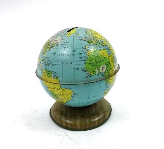 Souvenir Globe Bank // Metal vintage collectable // 1960s // world earth planet universe