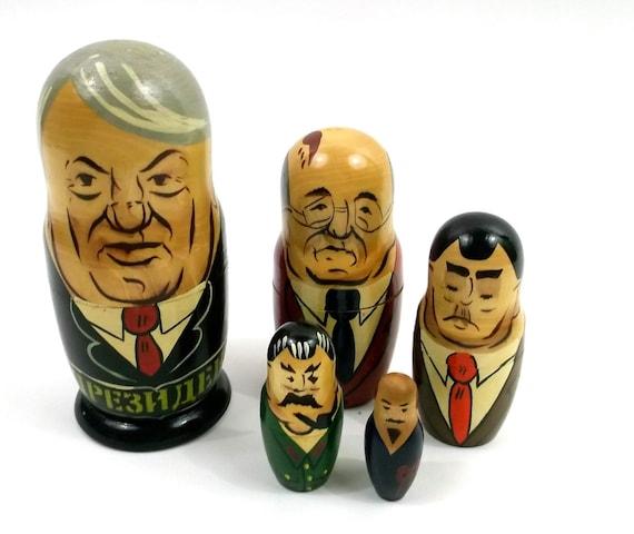 Russian Doll Dictators // Nesting Dolls / Strange Evil Political Leaders // Vintage toy / Kitsch