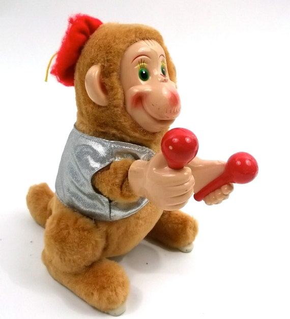 Jumping Monkey Toy // Vintage Mechanical Wind up Style circus animal