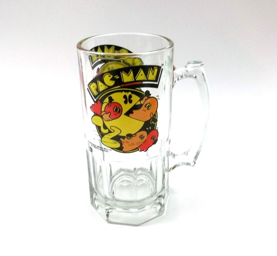 PAC MAN Beer Mug // Stein // Drinking Cup HUGE 8 inches tall // 1982 Bally Midway // 1980s // video game // electronics