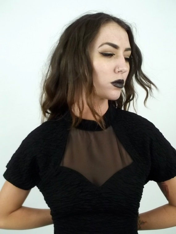 Mesh See Through Sweet Heart Cut Black Mini Dress // Skin Tight size Medium or Large 1980s 90s vintage
