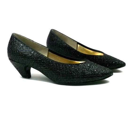 Faux Snakeskin Glittery Sparkling 1980s Heels // Black // womens size 8 // excellent condition // vintage shoes