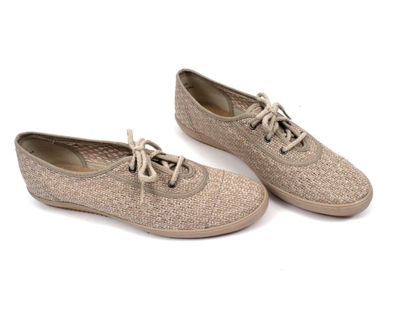 RESERVED // Burlap Tennis Shoes // Canvas Sneakers Womens size 10 vintage 1980s