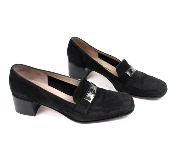 RESERVED // FERRAGAMO Platform Heel Chunky Leather Slip On Loafers / Womens size 8 1/2