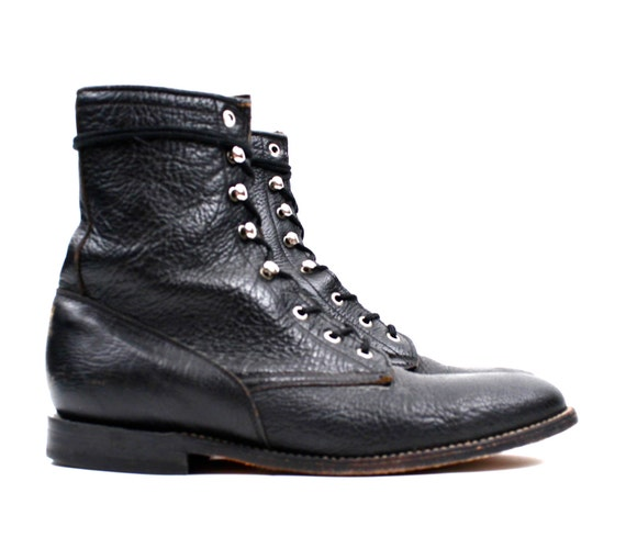 mens lace up roper boots black leather ankle boots 1980s 90s