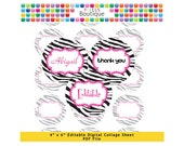 Pink Black Zebra Label Editable PDF Digital Collage Sheet (No. 096) - 1 Inch Circles Round Bottle Caps, Magnets, Hair Bow Centers, Stickers
